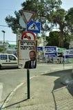Dia de eleições em Israel; cartazes em toda parte. Fotos de Stock Royalty Free