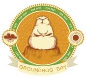 Dia de Groundhog. Etiqueta do vetor Imagens de Stock