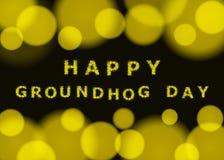 Dia de Groundhog feliz Fundo do bokeh do vetor Fotos de Stock Royalty Free