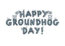 Dia de Groundhog feliz, inscrição, rotulando Fotos de Stock Royalty Free