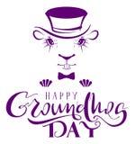 Dia de Groundhog feliz Texto da rotulação da silhueta da marmota para o cartão Imagem de Stock