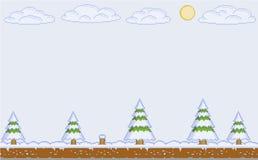 Dia de inverno da arte do pixel do vetor para jogos de vídeo Imagem de Stock Royalty Free