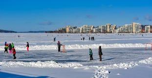 Dia de inverno ensolarado em Lahti, Finlandia imagem de stock