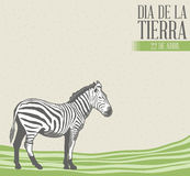 Dia de la tierra - Earth Day spanish text illustration with vintage background Stock Image