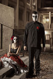 Dia de los Muerto Costume - Day of the dead. Is a mexican holiday. Here is a beautiful dead couple Stock Image