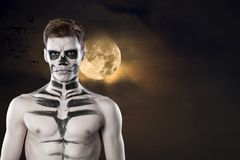 Dia de los Muerto Costume - Day of the dead is a mexican holiday. Here is a man with skull face. Halloween. Dia de los Muerto Costume - Day of the dead is a royalty free stock photos