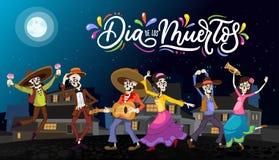 Dia de Los Muertos ευχετήρια κάρτα για την ημέρα των νεκρών Χαιρετισμός β διανυσματική απεικόνιση