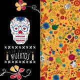 Dia de Los Muertos Ημέρα της νεκρής κάρτας με το κρανίο στοκ εικόνα