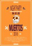 Dia de Los Muertos Ημέρα της νεκρής πρόσκλησης με το κρανίο στοκ εικόνα