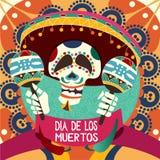 Dia de Los Muertos κάρτα για Dau των νεκρών Διάνυσμα χαιρετισμού άρρωστο διανυσματική απεικόνιση