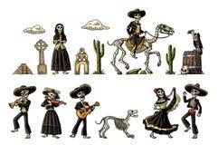 Dia de Los Muertos Ο σκελετός στα μεξικάνικα εθνικά κοστούμια διανυσματική απεικόνιση