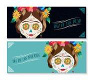 Dia de los muertos banner set with happy skull Stock Images