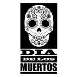 Dia de Los Muertos black and white design element.  Stock Photo