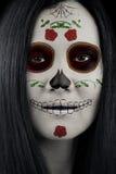Dia De Los Muertos Catrina Sugar-Schedelmake-up stock afbeeldingen