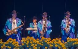Dia de los muertos. COACHELLA , CALIFORNIA - NOV 01 : Members of the band Banda Machos perform live on stage at the Dia De Los Muertos celebration in Coachella Royalty Free Stock Images