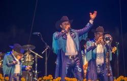 Dia de los muertos. COACHELLA , CALIFORNIA - NOV 01 : Members of the band Banda Machos perform live on stage at the Dia De Los Muertos celebration in Coachella Stock Photos
