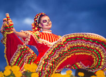 Dia de los muertos. COACHELLA , CALIFORNIA - NOV 01 : Traditional Mexican dancer perform at the Dia De Los Muertos celebration in Coachella , California on Royalty Free Stock Image