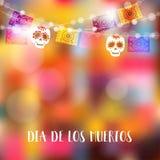 Dia de Los Muertos dag av död- eller allhelgonaaftonkortet, inbjudan Festa garnering, rad av ljus, partiflaggor med skallar vektor illustrationer