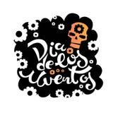 Dia DE los Muertos, Dag van de Doden voor prentbriefkaar of afficheontwerp stock illustratie