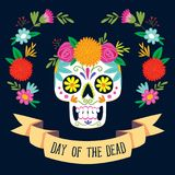 `Dia de los Muertos` day of the dead card. With english text. Mexican sugar skull with floral decoration. Vector illustration Royalty Free Stock Image