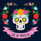 `Dia de los Muertos` day of the dead card. With spanish text. Mexican sugar skull with floral decoration. Vector illustration stock illustration
