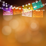 Dia de Los Muertos, Day of the Dead. Or Halloween card, invitation. Party decoration, string of lights, party flags with skulls. Vector illustration background Royalty Free Stock Photo