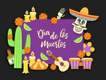 Dia de los muertos.Day of the Dead.Mexican feast of remembrance of the dead.National Latin carnival background.Vector. Dia de los muertos.Day of the Dead.Mexican vector illustration