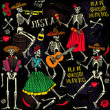 Dia de los Muertos. Day of the Dead . The skeleton dance Royalty Free Stock Images