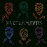 Dia de los Muertos. Day of the Dead sugar skulls. Mexican Dia de los Muertos. Colour collection of the Day of the Dead sugar skulls calavera with maracas Royalty Free Stock Photos