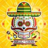 Dia De Los Muertos Day Of o crânio inoperante Imagem de Stock