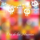 Dia de Los Muertos, dia do cartão dos mortos ou do Dia das Bruxas, convite Party a decoração, corda das luzes, corte feito a mão Imagens de Stock Royalty Free