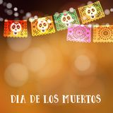 Dia de Los Muertos, dia do cartão dos mortos ou do Dia das Bruxas, convite Party a decoração, corda das luzes, corte feito a mão Imagem de Stock Royalty Free