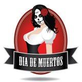 Dia de Los Muertos girl icon.  Stock Image