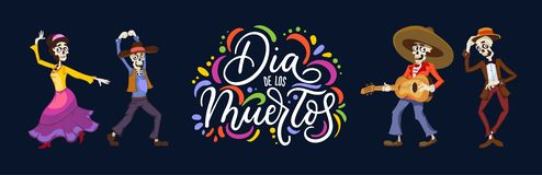 Dia de los Muertos greeting card for Day of the Dead. Greeting v. Ector illustration with dancing skeletons and lettering on blue background royalty free illustration