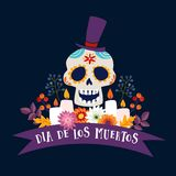 Dia de Los Muertos greeting card, invitation. Mexican Day of the Dead. Ornamental sugar skull with hat, ribbon banner. Candles and flowers Hand drawn Stock Photo