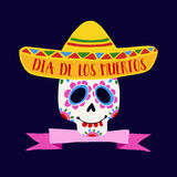Dia de Los Muertos greeting card, invitation. Mexican Day of the Dead.  Royalty Free Stock Images