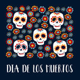 Dia de Los Muertos greeting card, invitation. Mexican Day of the Dead. Ornamental sugar skulls, flowers. Hand drawn  Royalty Free Stock Photography