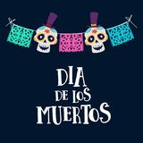 Dia de los Muertos greeting card, invitation. Mexican Day of the Dead. String decoration with party flags and ornametal. Sugar sculls, hand drawn vector Royalty Free Stock Photo