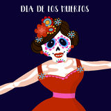 Dia de Los Muertos greeting card, invitation. Mexican Day of the Dead.  Woman with  flowers dressed as skeleton. Ornamental skul. L. Hand drawn  illustration Stock Photos