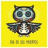 Dia De Los Muertos. Greeting card with sugar skull owls. Stock Photo