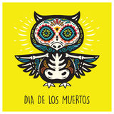 Dia De Los Muertos. Greeting card with sugar skull owls. Stock Photography