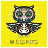 Dia De Los Muertos. Greeting card with sugar skull owls. Royalty Free Illustration