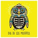 Dia De Los Muertos. Greeting card with sugar skull penguin Stock Photos