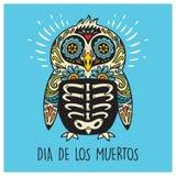 Dia De Los Muertos. Greeting card with sugar skull penguin Stock Image