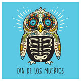 Dia De Los Muertos. Greeting card with sugar skull penguin Stock Photography