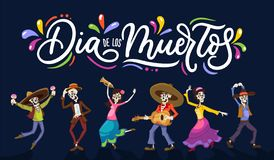 Dia DE los Muertos groetkaart voor Dag van de Doden Groet v royalty-vrije illustratie