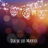 Dia de los muertos, Halloween card with lights, hand drawn ornamental sculls Royalty Free Stock Photos