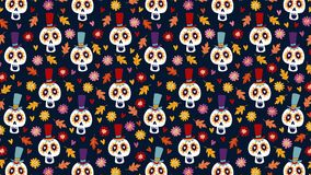 Dia de los Muertos or Halloween seamless animation of hand drawn pattern. Mexican Day of the Dead. Decorative sugar