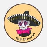 Dia De Los Muertos il giorno dei morti un carattere morto sveglio illustrazione di stock