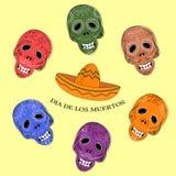 Dia de Los Muertos Jour des crânes morts de sucre Image stock
